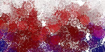 toile de fond de beaux flocons de neige rouge clair avec des fleurs. vecteur