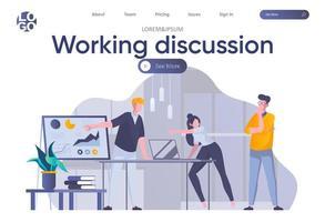 page de destination de discussion de travail avec en-tête vecteur