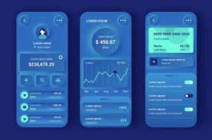 kit de conception neumorphique unique de banque en ligne vecteur