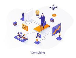 consultation de bannière web isométrique. vecteur
