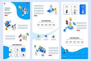 page de destination isométrique de l'agence créative. vecteur