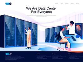 nous sommes un centre de données pour chaque page de destination isométrique. vecteur