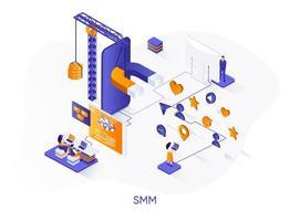 bannière web isométrique smm. vecteur