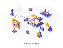 bannière web isométrique de bibliothèque en ligne.