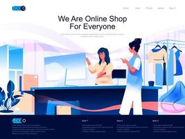 nous sommes une boutique en ligne pour tout le monde page de destination isométrique. vecteur