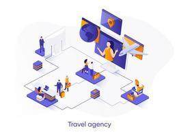 bannière web isométrique agence de voyage. vecteur