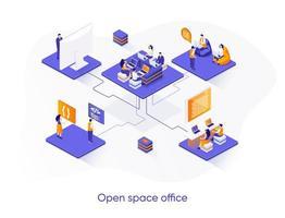 bannière web isométrique de bureau espace ouvert.
