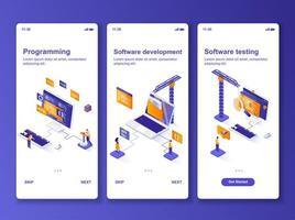 kit de conception graphique isométrique de développement logiciel. vecteur