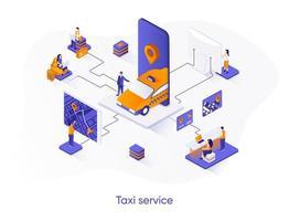 bannière web isométrique de service de taxi. vecteur