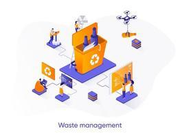 bannière web isométrique de gestion des déchets.
