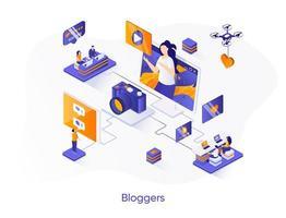 bannière web isométrique de blogueurs. vecteur