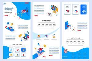 Page de destination isométrique de marketing des médias sociaux. vecteur