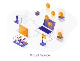 bannière web isométrique de finance virtuelle. vecteur