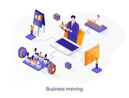 bannière web isométrique de formation commerciale. vecteur