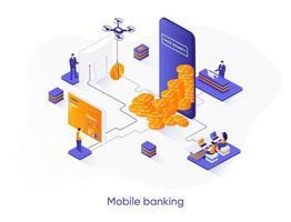 bannière web isométrique de services bancaires mobiles. vecteur
