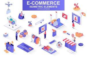 bundle e-commerce d'éléments isométriques. vecteur