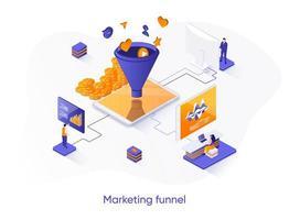 bannière web isométrique d'entonnoir de marketing. vecteur