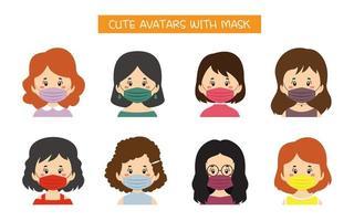 ensemble d & # 39; avatars mignons avec des masques vecteur