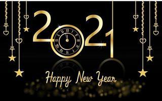 nouvel an design brillant avec horloge en or et étoiles vecteur