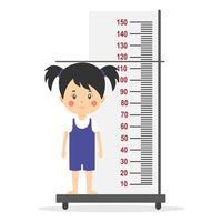 petite fille mesure la hauteur vecteur