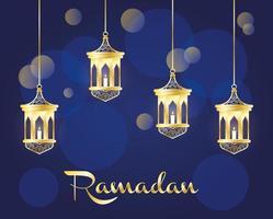 bannière de célébration du ramadan avec lampes dorées vecteur