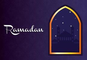 bannière de célébration du ramadan avec mosquée vecteur
