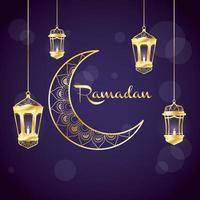 bannière de célébration du ramadan avec lune d'or
