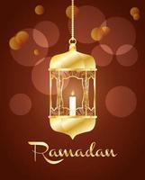 bannière de célébration du ramadan avec lampe en or