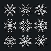 ensemble de flocons de neige d'hiver blancs