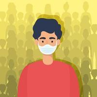personnage de jeune homme avec un masque facial vecteur