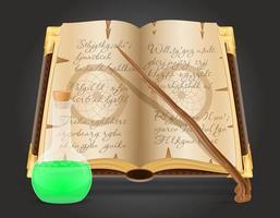livre magique et potion vecteur