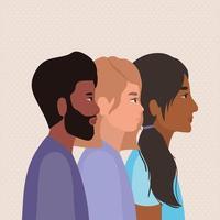 peaux de diversité de dessins animés de femmes et d'hommes noirs