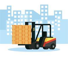 composition du service de livraison avec chariot élévateur