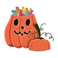 caricature de citrouille d'halloween avec conception de bonbons