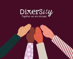 conception de mains de peau différente mais égale et diversité
