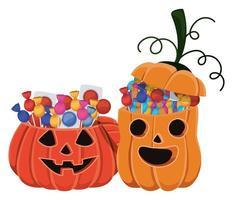 dessins animés de citrouilles dhalloween avec conception de bonbons