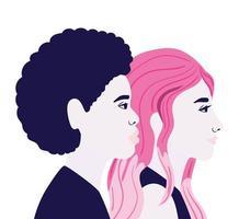 dessin animé femme et homme en vue latérale