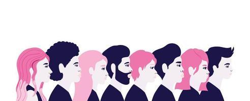 dessins animés femmes et hommes en vue latérale