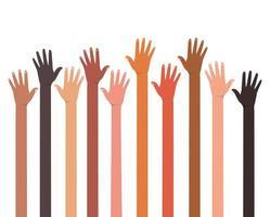 mains ouvertes de différents types de conception de peaux