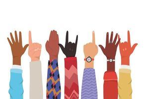 mains avec numéro un et signe rock