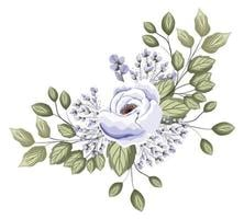 fleur rose blanche avec des bourgeons et des feuilles conception de peinture