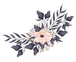 peinture fleur rose clair avec bourgeons et feuilles
