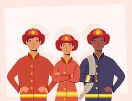 pompiers, personnages essentiels des travailleurs vecteur