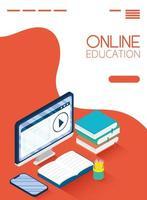 éducation en ligne et bannière e-learning avec ordinateur vecteur