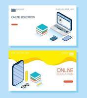 ensemble de bannières d'éducation en ligne et e-learning