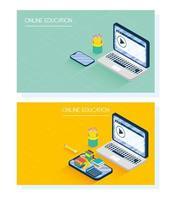 éducation en ligne et bannière e-learning avec ordinateur portable vecteur