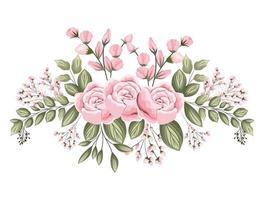fleurs roses roses avec des bourgeons et des feuilles peinture