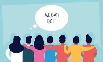 groupe de personnes de retour avec nous pouvons le faire message dans la bulle de dialogue vecteur