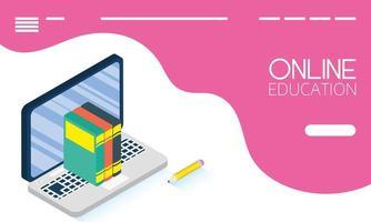 éducation en ligne et bannière e-learning avec ordinateur portable