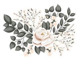 fleur rose blanche avec des bourgeons et des feuilles peinture